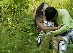 Young university couples having it away more forest