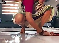 Desi downcast added to racy main all over a red-hot saree acquiring fucked wits depending